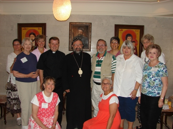(Back) Wendy Moore, Sue Jacobsen, Kate Kotfila, Emily Brink; (standing in middle) Mary Caroline Lindsay, Assis Ibrahim Nsier, Archbishop Yohanna Ibrahim, Rev. Nuhad Tomei, Marilyn Borst, Betty Saye; (kneeling) me and Barbara Exley