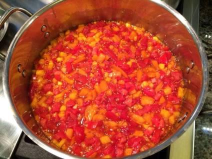 Bubbling tomato jam