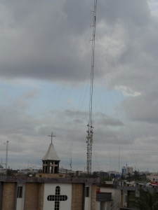 Our presbyterian church home in Basrah with radio antenna.