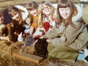 Mike, me, Heather, Susan and Heidi. Prescotts with our bunnies. The white one is Cuddles and she was mine. The big black one was Midnight and he was Heidi's.