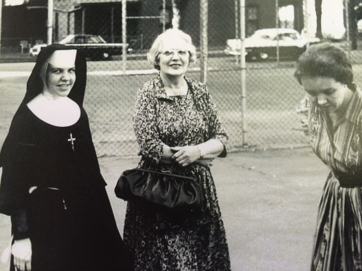 1962. My Aunt Carolyn Thirtle (still a Franciscan nun, she was known as Sr. Edith Ann here), my grandmother Bea Thirtle and my mom, Jeanne Marie Thirtle Prescott.