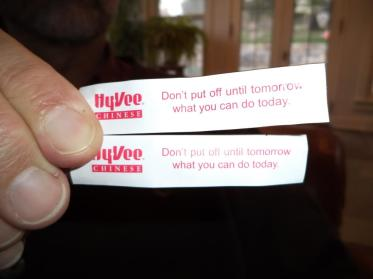 No kidding! Steve and I once got the same fortune in our cookie at Sunday lunch.