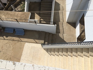 Looking down at the stairs below from top of the Kab Elias school, now apartments for refugees.