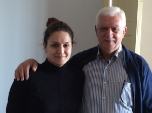 Elder Moussa of the Aleppo Presbyterian Church and his daughter Fibi.