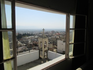 This is the view out of Dunia's window, looking to the church steeple with its bell.