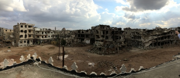The old city of Homs, Syria, from the rooftop of a bombed mosque.