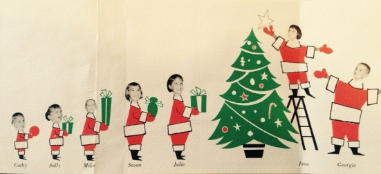 The front of the 1965 Christmas card with all seven Prescott children. Cathy would have just celebrated her first birthday on December 7.