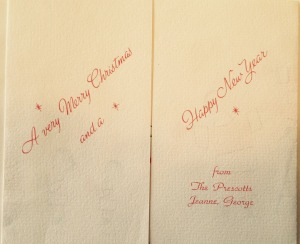 The inside of the 1965 Christmas card with a simple message.