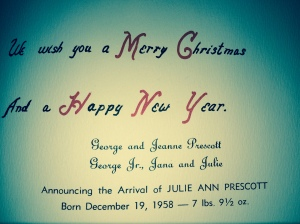 My birth announcement inside the 1958 Christmas card.