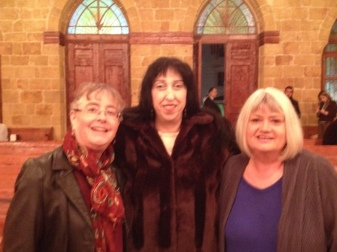Julie Lamis Bitar and Marilyn at Latakkia church
