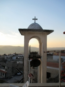 The church bell in its tower at the National Evangelical Church of Yazdieh, Syria.