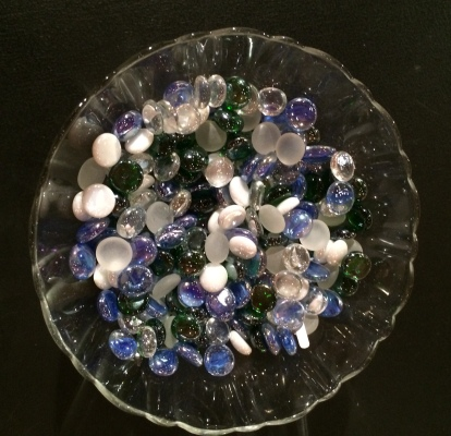 Bowl of glass stones