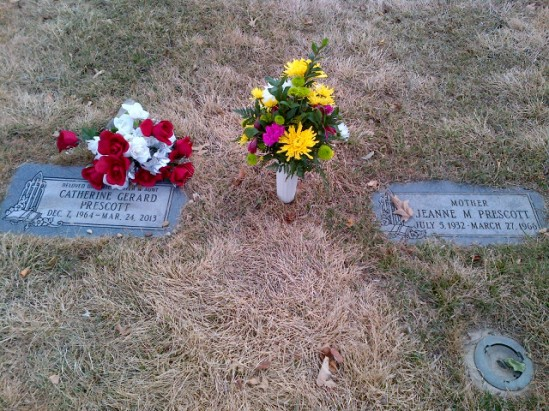 Cathy and Mommy's headstones 2014