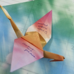 Paper cranes dona nobis pacem