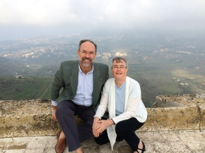 Steve and I on the top of the Krak de Chevaliers, Wadi al Nassara, Syria, November, 2014.