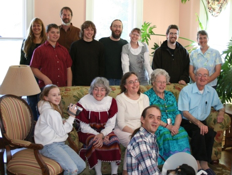 Easter Sunday, 2007. Daddy is on the far right of the couch in the light blue shirt.