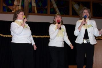 The Lemon Sisters sing for the first time, West Hills Church Super Supper, 2007. Kathy Padilla, me, Pam Kragt