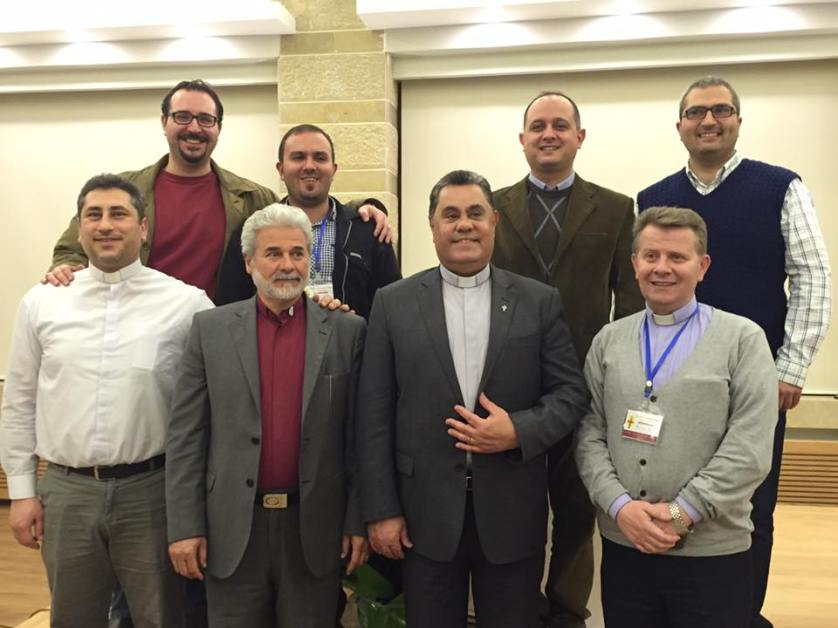 The eight Presbyterian pastors serving in Syria (back row left to right) Jacoub Sabbaagh, Fairouzeh; Mofid Karajieli, Homs; Salam Hanna, Latakia; Elias Jabour, Aleppo; (front row left to right) Firas Ferah, Hasakeh, Kamishli and Malkieh; Ma'an Bitar, Mahardeh and Hama; Butros Zaour, Damascus; and Ibrahim Nsier.