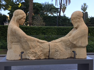 "Standing outside the Nicholas Sursock Museum in Beirut is ""The Weeping Women."" This sculpture depicts two women, one Christian and one Muslim, mourning together in the loss of sons to senseless wars."