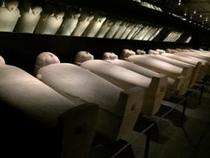 Sarcophagi lined up in the Beirut National Museum